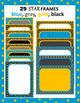 Digital Papers and Frames BUNDLE: blue gold grey black