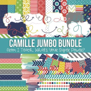 Digital Papers and Frames Camille Jumbo Set