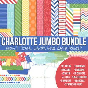 Digital Papers and Frames Charlotte Jumbo Set