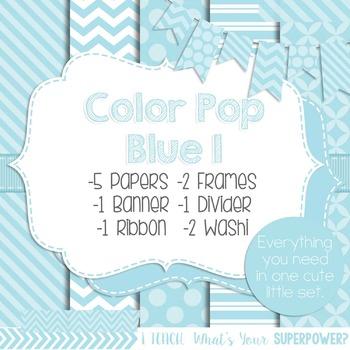 Digital Papers and Frames Color Pop Blue 1