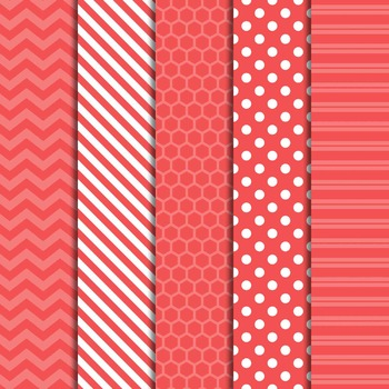 Digital Papers and Frames Color Pop Coral 1