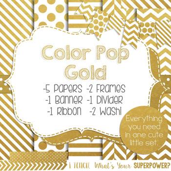 Digital Papers and Frames Color Pop Gold