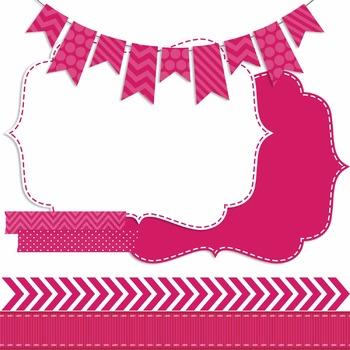 Digital Papers and Frames Color Pop Pink 3