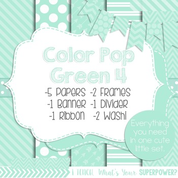 Digital Papers and Frames Color Pop Green 4