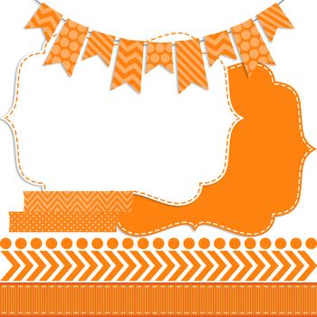 Digital Papers and Frames Color Pop Orange 1
