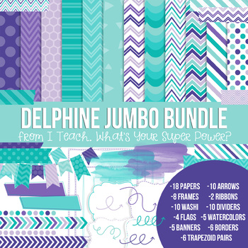Digital Papers and Frames Delphine Jumbo Set