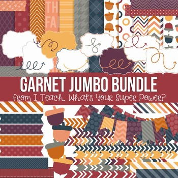 Digital Papers and Frames Garnet Fall Jumbo Set