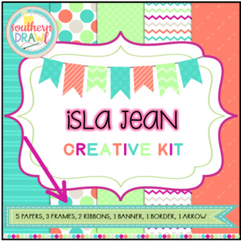 Digital Papers and Frames ISLA JEAN Creative Kit