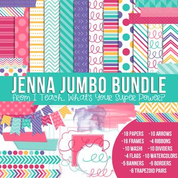 Digital Papers and Frames Jenna Jumbo Set