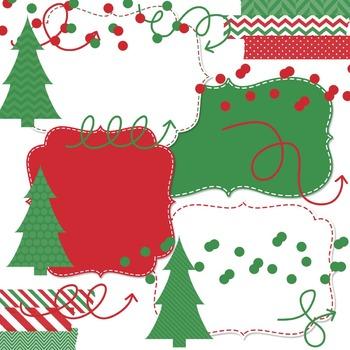 Digital Papers and Frames Kringle Christmas Jumbo Set