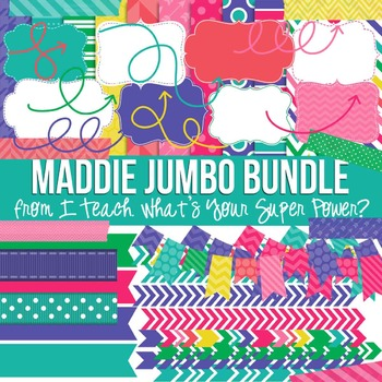 Digital Papers and Frames Maddie Jumbo Set