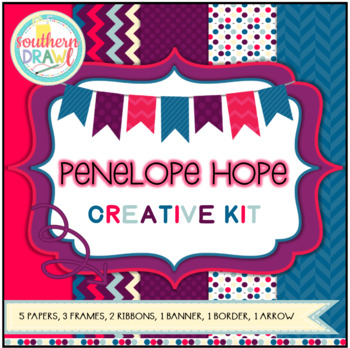 Digital Papers and Frames PENELOPE HOPE Creative Kit