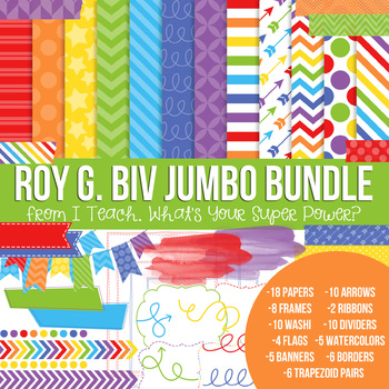 Digital Papers and Frames Rainbow Roy G Biv Jumbo Set