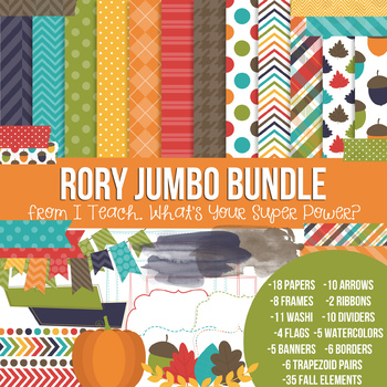 Digital Papers and Frames Rory Fall Jumbo Set