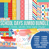 Digital Papers and Frames School Days Jumbo Set