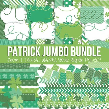 Digital Papers and Frames St. Patrick's Day Jumbo Set