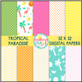 Digital Papers and Frames Tropical Paradise FREEBIE