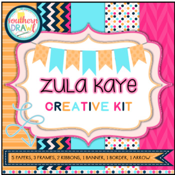Digital Papers and Frames ZULA KAYE Creative Kit