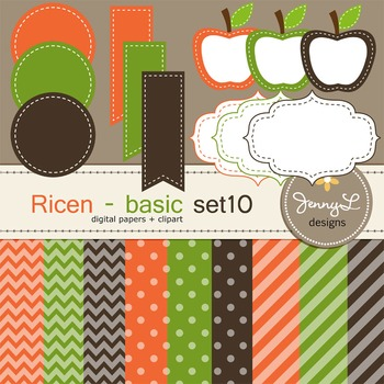 Digital Papers and Label Cliparts Basic Set 10, Teacher Sellers Kit