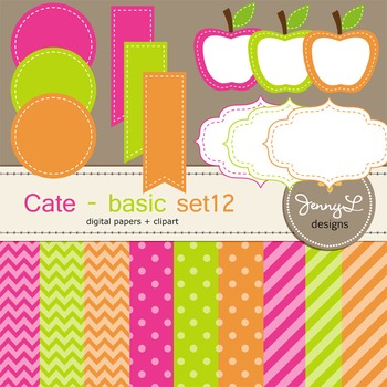 Digital Papers and Label Cliparts Basic Set 12, Teacher Sellers Kit