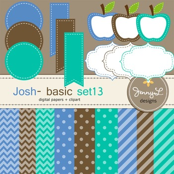 Digital Papers and Label Cliparts Basic Set 13, Teacher Se