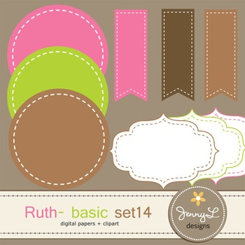 Digital Papers and Label Cliparts Basic Set 14, Teacher Sellers Kit