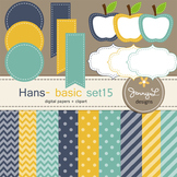 Digital Papers and Label Cliparts Basic Set 15, Teacher Se