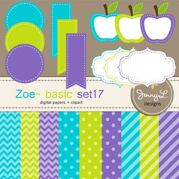 Digital Papers and Label Cliparts Basic Set 17, Teacher Se