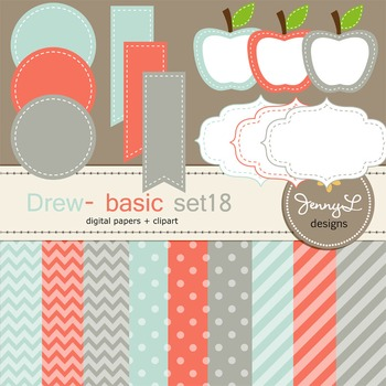 Digital Papers and Label Cliparts Basic Set 18, Teacher Sellers Kit