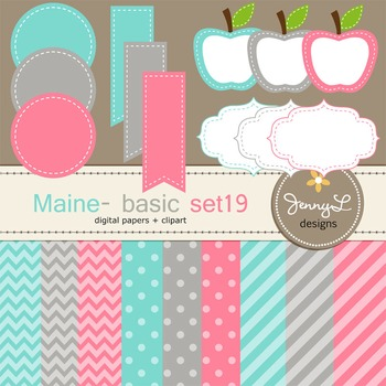 Digital Papers and Label Cliparts Basic Set 19, Teacher Sellers Kit