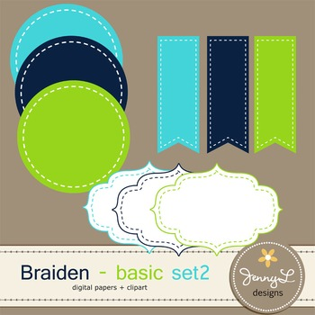 Digital Papers and Label Cliparts Basic Set 2, Teacher Sellers Kit