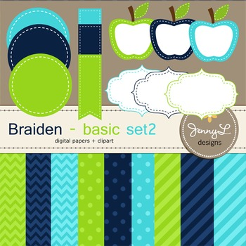 Digital Papers and Label Cliparts Basic Set 2, Teacher Sel