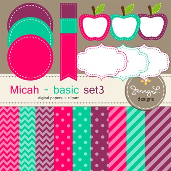 Digital Papers and Label Cliparts Basic Set 3, Teacher Sellers Kit