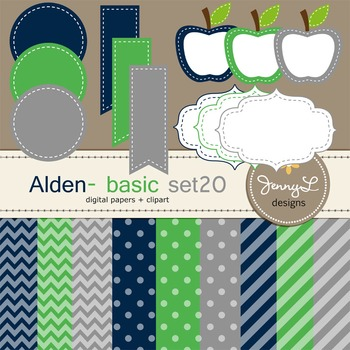 Digital Papers and Label Cliparts Basic Set 20, Teacher Sellers Kit