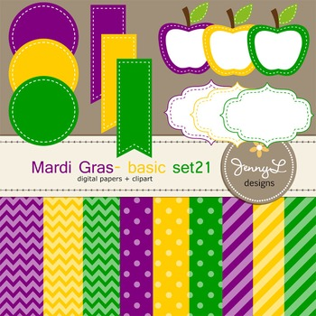 Digital Papers and Label Cliparts Basic Set 21, Teacher Sellers Kit Mardigras