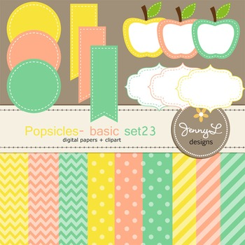 Digital Papers and Label Cliparts Basic Set 23, Teacher Sellers Kit Pospsicles