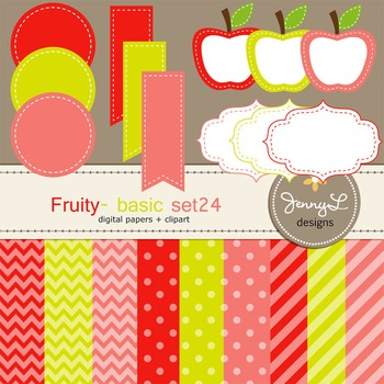 Digital Papers and Label Cliparts Basic Set 24, Teacher Sellers Kit Fruity