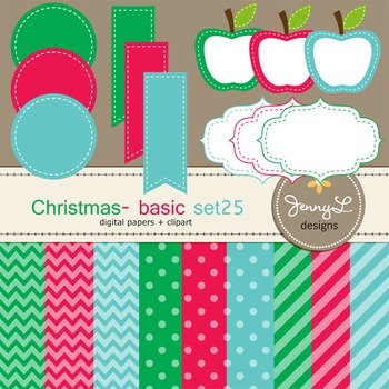 Digital Papers and Label Cliparts Basic Set 25, Teacher Sellers Kit Christmas