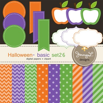 Digital Papers and Label Cliparts Basic Set 26, Teacher Sellers Kit Halloween