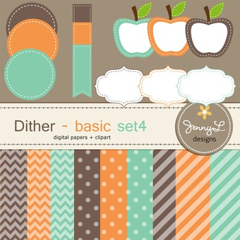 Digital Papers and Label Cliparts Basic Set 4, Teacher Sellers Kit