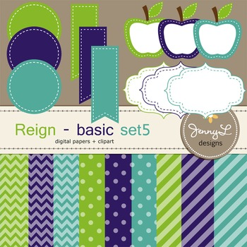 Digital Papers and Label Cliparts Basic Set 5, Teacher Sellers Kit