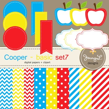 Digital Papers and Label Cliparts Basic Set 7, Teacher Sellers Kit