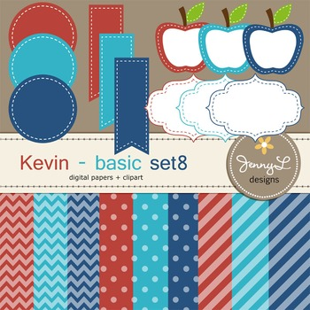 Digital Papers and Label Cliparts Basic Set 8, Teacher Sellers Kit
