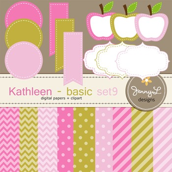 Digital Papers and Label Cliparts Basic Set 9, Teacher Sellers Kit