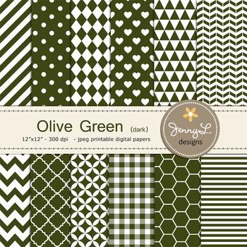 Digital Papers : dark Olive Green
