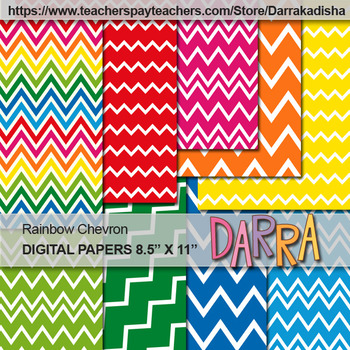 Digital Papers for background and cover page - Chevron Rainbow Colors