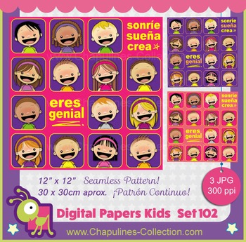 Digital Papers, kids, Sonríe Sueña Crea, Eres genial, seamless pattern, Set 102
