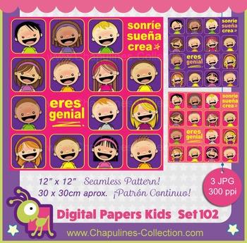 Digital Papers, kids, Sonríe Sueña Crea, Eres genial, seam