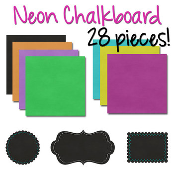 Digital Papers with Frames: Neon Chalkboard