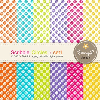 Digital Papers:Scribble CIRCLE in Bright Colors - SET1
